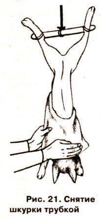 Снятие шкурки норки